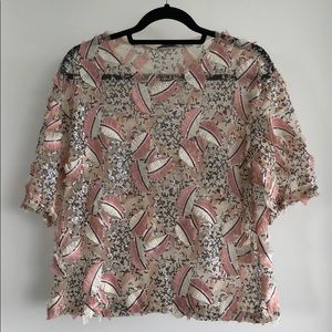 See-through blouse with pink and beige details